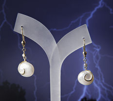 585 Gold Lady's Earrings with white fresh water pearls ∅ c. 11,5 X 7,6 mm and Diamonds 0.02 ct
