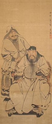 "Big scroll painting  "" Two Chinese heroes Guan Yu and Zhou Cang ""  epic of the three kingdoms - Japan - late 19th century"