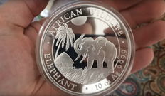 Somalia - 1000 shillings - 10 oz African wildlife series elephant 2017-999 silver coin