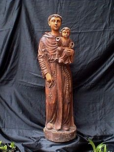 Anthony of Padua - impressive polychrome oak wood Saints sculpture - early 19th century