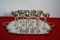 1 tray and 12 small wine chalices with pedestal feet, silver plated, hallmarked THEO - France - 1890