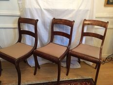 Three early mahogany Biedermeier chairs - the Netherlands - circa 1840