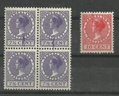 Netherlands 1923/1937 - Selection of misprints and plate errors in sheet parts