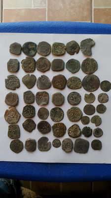 Spain - Lot of 49 copper coins - Habsburg kings
