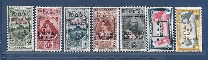 Italy – 1932 – Aegean general issues –Complete air mail Garibaldi series plus express – Sassone catalogue no. A14/A18 and A19/A20