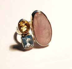 925 silver, handmade ring with rose quartz, citrine and topaz – size 19