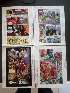 Whitmore, Glenn - 4 Colorisations originales (color guide art) - Justice League annual 2000 pgs. 1, 16, 22, 25 - (2000)