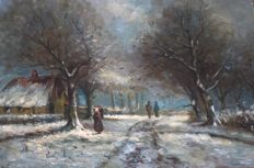P. Jonker (20th century) - Hikers in a winter forest