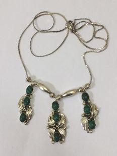 925 silver Navajo necklace with malachite - 54 cm