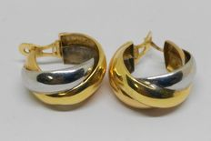 18 kt white and yellow gold. Earrings: 24 mm.