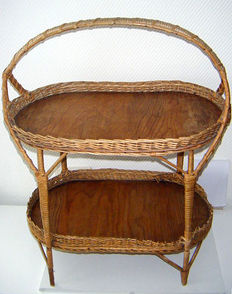 Rattan serving trolley, 1950s-60s