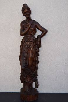 Greek goddess - large carved wooden sculpture - Italy ca. 1930
