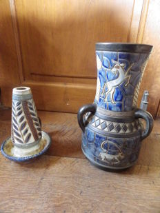 Dubois - Large vase + ceramic candle-holder