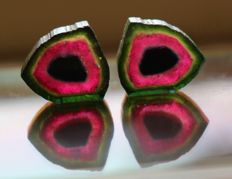 Lot of Tri Color Unique Color combination of Watermelon Tourmaline - 21ct (2)