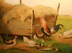 Jack Bekers - (1944 - 1916 ) - Rooster and chickens are eating