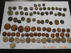 Roman Empire – Lot consisting of 82 AE / AR coins (14 silver or silver plated ) – folles, antoniniani, denarii –1st-4th century A.D.