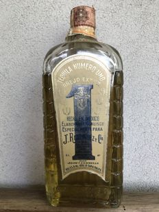 """Tequila Number One """"anejo extra"""" - J. Rodriguez - 1960s"""