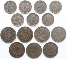 The Netherlands – 1 cent and 2½ cent 1877/1890 (14 different coins) complete William III
