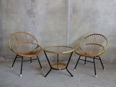 Attributed to J.P. Broekhuyzen for Rohé – vintage rattan set consisting of 2 armchairs and a table