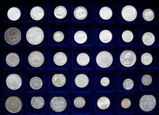 World, lot of 35 coins (Belgium, Australia, Switserland, US, England...) 1850/1962 – Silver