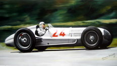 "Fine Artprint - ""Caracciola"" Rudolf Caracciola drives his Mercedes W154 to 2nd place in the 1938 French Grand Prix, Reims."