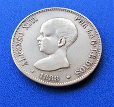 """Spain – 5 Silver pesetas 1888 Alfonso XII 1888 **88 Madrid MP M – """"RARE DATE"""" – Stars not very visible *88 – Beautiful coin 24.95 g (2)"""
