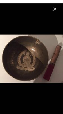 Handmade Singing Bowl with Image of Buddha and a Mantra – Nepal – Late 20th century
