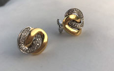Bibigí - White / yellow gold earrings, with natural diamonds, 15 x 17 mm