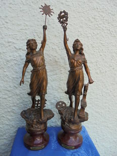 Two original bronzed pewter figures from the first world exposition in Paris 1844-1855  Agriculture and Industry