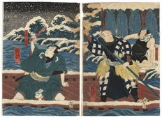 Original diptych woodcut by Utagawa Kuniyoshi (1797-1861) – Japan – 1851.