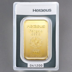 Heraeus 50 grams 999 gold bar in blister - with certificate
