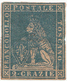 Tuscany, 1857 – 2 cr. Light blue – Sassone No. 13.