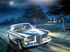 """ Facel Vega HK500 "" Personal Car of Stirling Moss - Art Print HV Silk MC 250 g/m2"