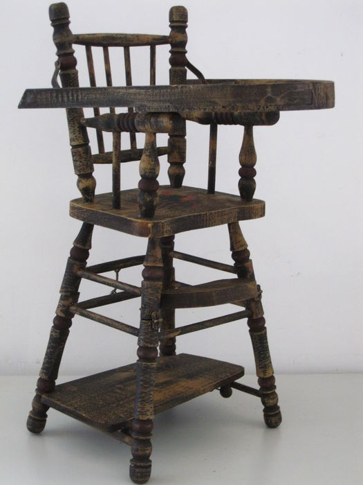 Antique doll high chair 0.5 m - The Netherlands - Antique Doll High Chair 0.5 M - The Netherlands - Catawiki