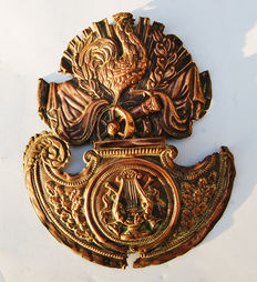 French army rooster and gun badge for helmet 1914 18