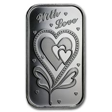 USA - 1 oz 999 fine silver bar - With All My Love - room on reverse for engraving -