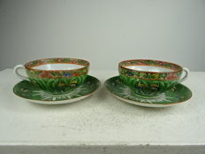 Two Cantonese cups and saucers – China – Republic period (1912-1949)