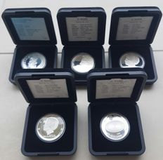 The Netherlands – 10 guilder coins 1994 up to 1999 Beatrix (5 pieces) – silver