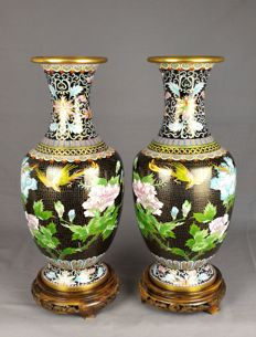 Two large bronze cloisonné vases – China – 1970