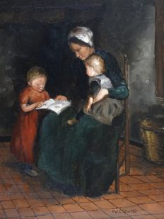 H. W. G Winter. (20th century) - old Dutch Interior with woman and children