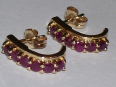 Yellow gold ear studs in 14 kt with 12 rubies - 0.60 ct