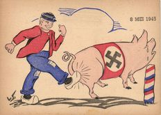 Military- WW2 - liberation, The Netherlands, Belgium and France - 31 x + 3 folders - cartoons and political leaders - ca 1945