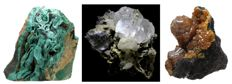 Lot - Malachite - Fluorite & Calcite on Quartz/Siderite - Campylite on Manganese oxide covered Quartz - 109 gm (3)
