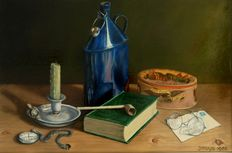 Maheta (1925-2015) - Still life with letter, pocket watch and pipe