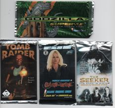133 Sealed packets X Files, Barb Wire, The Seeker, Tomb Raider, Godzilla and The Young Indiana Jones Chronicles trading cards.