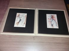 Original; Lot with 2 drawings by Alex de Carne - late 20th century