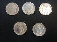 United States – 1 Dollar 'Morgan' 1879/1882 (5 coins) – Silver