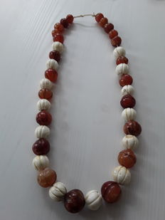 old, heavy handcarved coral and carnelian necklace