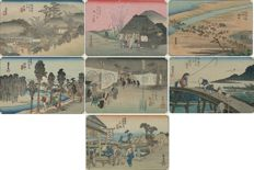 "Lot with seven woodblock print postcards in dark grey passe-partout from the series ""53 stations of the Tokaido"" by Utagawa Hiroshige (1797-1858), Japan, 1906, (reprint)"