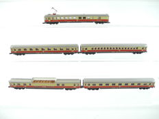 "Märklin Z - 8735/e.a. - 5-piece Passenger trail ""TEE"" includine a Panorama carriage and Dining car with oantographs of the DB  [725]"